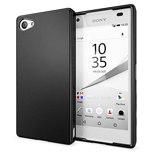 NALIA Handyhülle kompatibel mit Sony Xperia Z5 Compact (Mini), Ultra-Slim Silikon Smartphone Case, Dünne Crystal Schutzhülle, Etui Handy-Tasche Back-Cover Bumper, TPU Gummihülle - Matt Schwarz