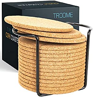 Cork Coasters 16 Pcs with Metal Holder (Designed in USA) Thick Absorbent Natural Rustic Bar Table Cup Coasters for Drinks Bar Glass
