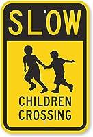 安全標識-遅い-子供たちの交差点。インチの金属錫標識UV保護および耐候性、通知警告標識