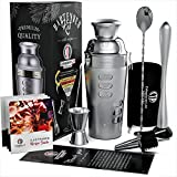 Critoplanet Cocktail Shaker Bartender Kit   Home Bar Accessories Set Mixology   Tools : Mixer Jigger Spoon Muddler Strainer   With Bartending Recipes on rotation side   Martini Old Fashioned Mixing