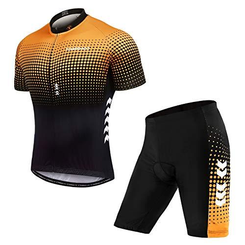 TOMSHOO Abbigliamento Ciclismo Uomo, Ciclismo Uomo Pantaloncini con Cuscino d'Aria 3D e Maglia Traspirante, Ciclismo Set Adatto per Ciclismo, Escursionismo, Corsa, Sport all'Aria Aperta
