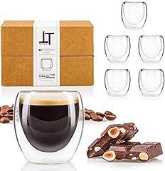 Tempery✮ Tazas Cafe Doble Pared/Vasos Térmicos Cafe Premium Espresso - 8 cl - Juego 6 Taza de Cafe - Taza Vidrio de Café Original & Transparente Cualquier Ocasión