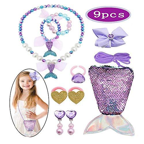 Zhishangcheng 9Pcs Meerjungfrau Kinderschmuck Spielzeug Set,Halskette Ringe Ohrringe Armbänder Mermaid Handtasche zum Mädchen Dress Up Meerjungfrau Party, 3-8 Jahre Mädchen Geburtstag Mitgebsel- lila