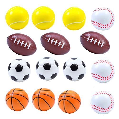 Mini Sportbälle Stress Relief Bälle, 15Pcs (Rugby, Fußball, Basketball, Baseball, Tennis für jeweils 3 Stück)