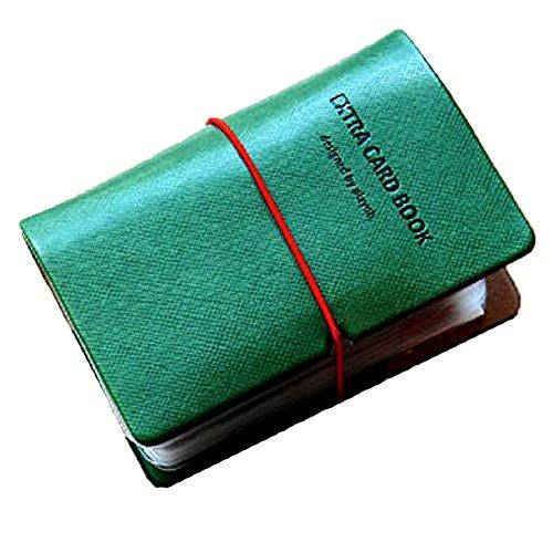 (JOIN・K)カードケース 名刺入れ レディース 縦入れ 30ポケット 両面収納 大量収納 クリア シンプル 革 レザー インデックス付 フォレストグリーン