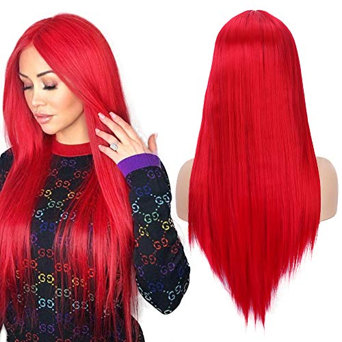 Fani 22' Long Straight Red Wigs for Women Natural Hairline Middle Part Synthetic Wigs for Women Halloween Cosplay Party Costume (113#)