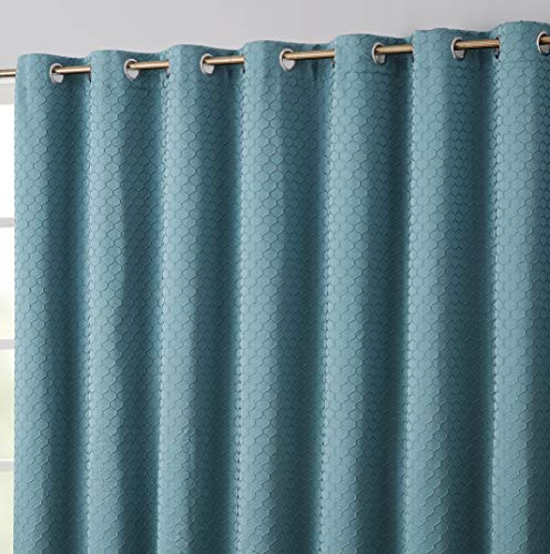 HLC.ME Siena 100% Complete Blackout Thermal Insulated Window Curtain Grommet Panel for Sliding Glass Patio Doors - Energy Efficient, Complete Darkness, Noise Reducing - (100' W x 84' L, Teal Blue)