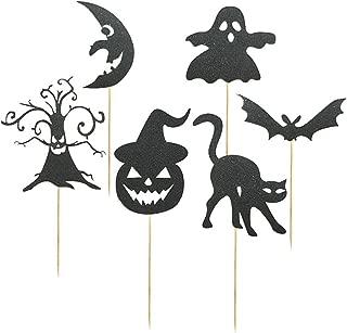 NUOBESTY 6pcs Halloween Cake Pick Horror Cake Toppers Pumpkin Bat Skull Design for Halloween Theme Party Festival Cake Decoration