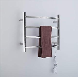 XSGDMN Eléctrico Calentador de Toallas, 304 de Acero Inoxidable toallero radiador Curvado diseño montado en la Pared de Toallas eléctrico con 4 Bares, para Baño,HardWire