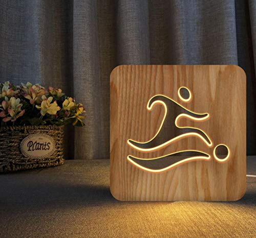 3D night light solid wood carving hollow creative craft LED table lamp(Kick)