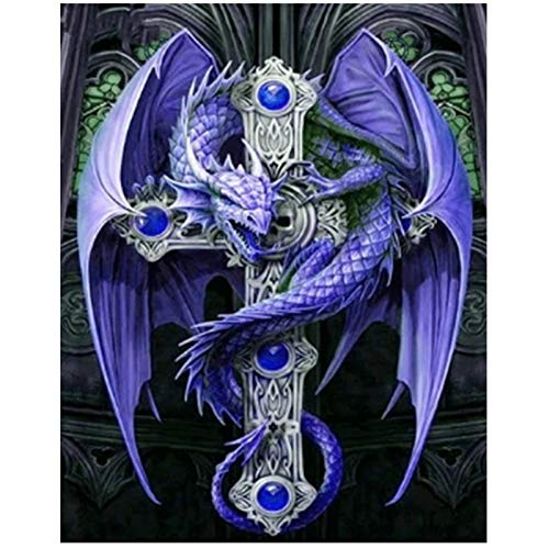 DIY 5D Diamond Painting Kits by Number, Evil Dragon Paint with Crystal Diamonds Craft Kits Full Drill Diamonds Art Kit for Beginner DIY Project,12x16 Inches