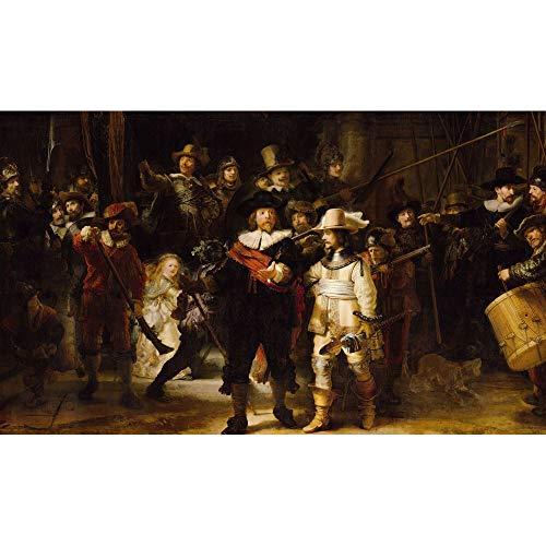 Schilderij Canvas Rembrandt Nachtwacht - 118 x 70 cm Woonkamer