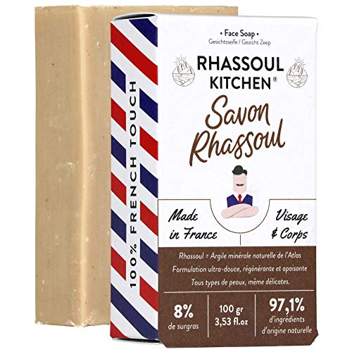 Monsieur BARBIER Savon Surgras Artisanal au Rhassoul pour Visage/Corps RHASSOUL KITCHEN 100 gr