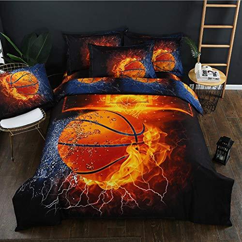 KIrSv Decoracion habitacion Adolescente,3D Voetbal Basketbal Beddengoed Set, Koning Print Patroon Dekbedovertrek Set Thuis Slaapkamer Decor Beddengoed Bedclothes-B_200 * 200 cm (3 stks)