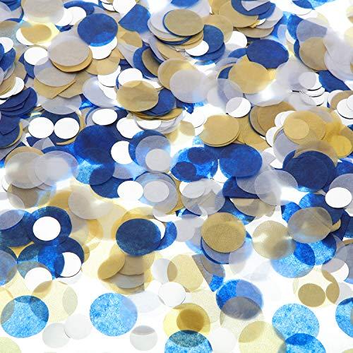 Confeti de Papel Confeti de Mesa para Decoración de Fiesta de Boda Cumpleaños, 1,76 oz (Confeti Auzl Dorado Plateado, 2,5 cm)