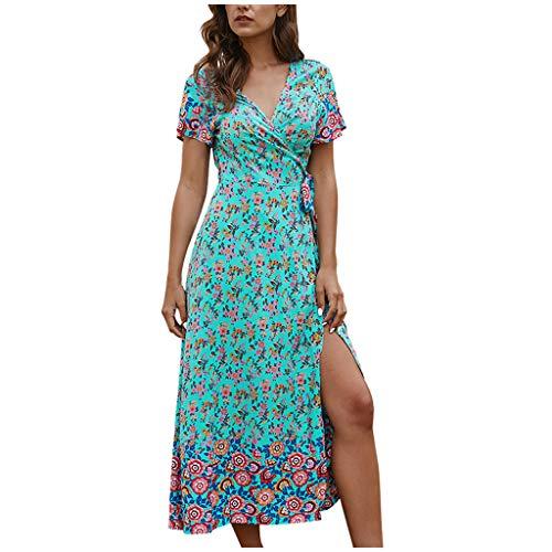 BHYDRY Frauen Blumendruck Knielanges Kleid Sexy Strandkleid Kurzarm Kleid mit V-Ausschnitt