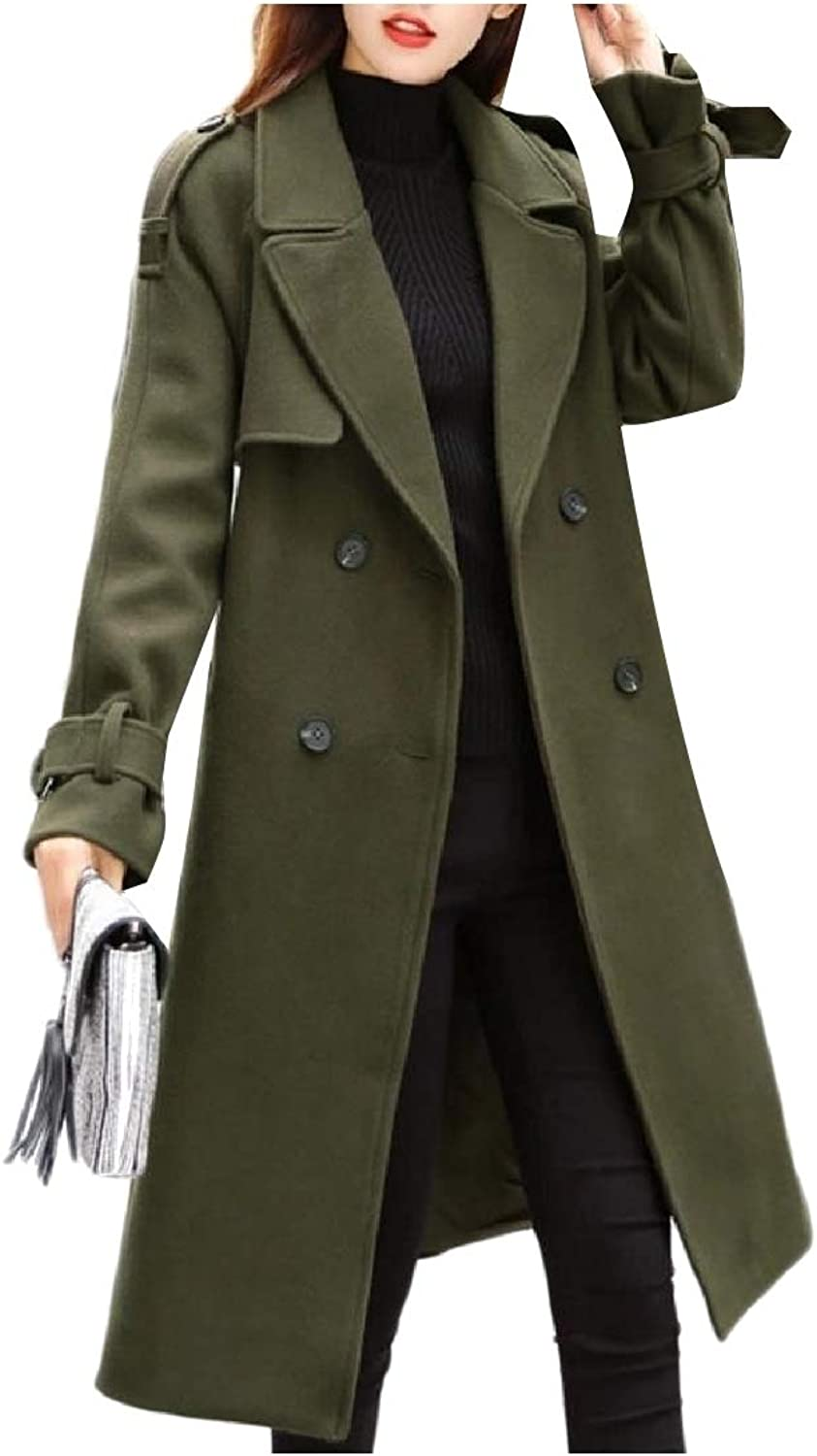 Cobama Women Woolen Trench Jacket Button Smocked Waist Lapel Duffle Coat