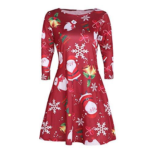 litty089 herfst winter voor vrouwen een lijn Midi jurk, strak taille lange mouwen ontwerp, elegante sneeuwvlok hert patroon, decor voor kerst partij kostuum