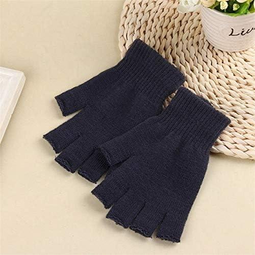 Unisex Knitted Stretch Elastic Winter Warm Half Finger Fingerless Casual Gloves Men's Women's Acrylic Glove for Winter Mittens - (Color: DG)