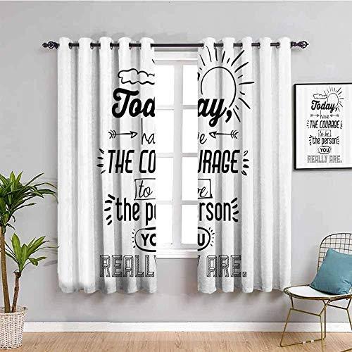 ZLYYH Cortinas Termicas Blanco simple letras graffiti 140x260cm Cortinas opacas para dormitorio - Cortinas de habitación con aislamiento térmico de ojales para sala de estar, juego de 2 paneles