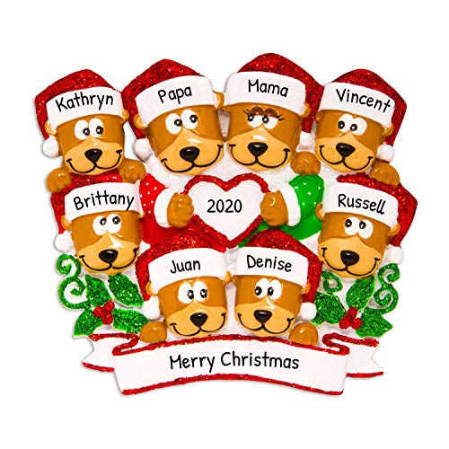 Personalized Brown Bear Family of 8 Christmas Tree Ornament 2020 - Hug Parent Kid Friend Hold Glitter Heart Santa Hat Holiday Fun Tradition Grand-Children Gift Year - Free Customization (Eight)
