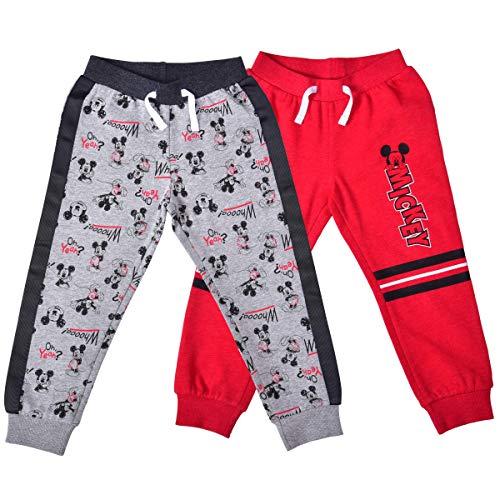 Disney Boy's 2-Piece Mickey Mouse Drawstring Jogger Pant Set, Red/Grey, Size 3T