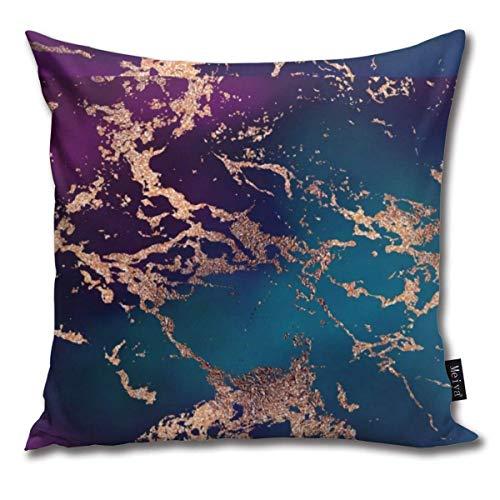 Marmor-Luxe-Dekor-Kissenbezüge, dunkelviolett und blaugrün mit goldfarbenen Kissenbezügen, für Wohnzimmer, Sofa, Schlafzimmer, Auto, 45,7 x 45,7 cm