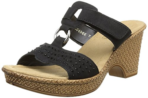 Rieker Damen Sandalen, Frauen Sandaletten, Sommerschuhe offene Absatzschuhe hoher Absatz feminin Freizeit leger,Schwarz(Nero),40 EU / 6.5 UK