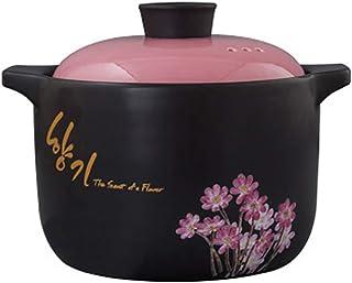 Floral Utensilios Crockpot Slow Cooker Cocotte,Calor-resistente Cerámica Cacerola,Redonda Olla Cazuela Con Lid 4 Litros