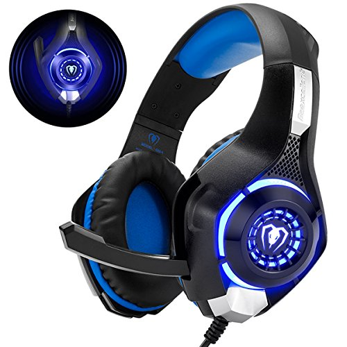 Cuffie Gaming con Microfono Cuffie Bass Stereo per PS4 PS5 Cuffie Xbox One Cancellazione del Rumore Controllo Volume per PC Mac Tablet, Nero/Blu