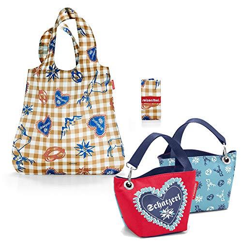 Reisenthel Bavaria Serie con cesta de la compra adicional, bolsa de la compra de viaje, mochila (Mini Maxi Shopper + azul schatzerl Blue)