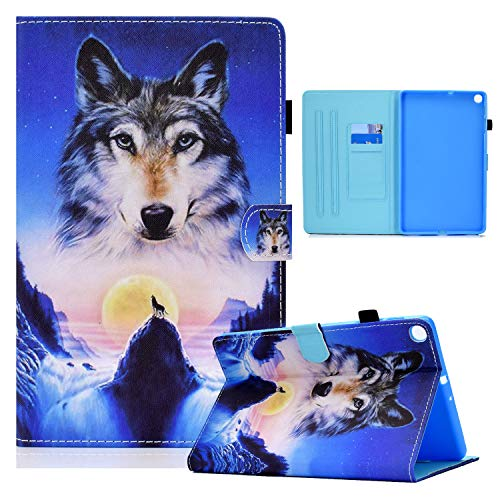 Case for Tablet Samsung Galaxy Tab A7 10.4'' 2020 Flip Cover Leather Funny Animal Pattern Design with Card Holder - Wolf