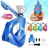 HINATAA Máscara de Buceo para Niños, 180 °Máscara de Snorkel de Cara Completa Infantil, Anti-vaho Anti-Fuga Máscara de Gafas Compatible con GoPro, Adecuado para Niños de 4 a 12 Años (Azul)