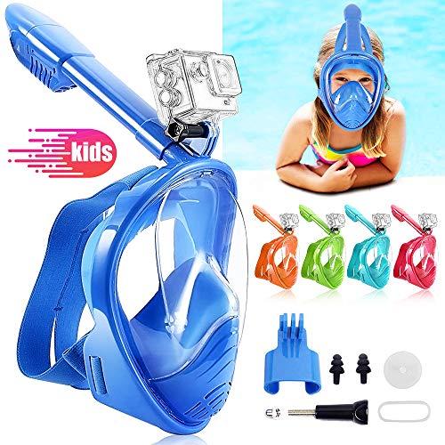 HINATAA Máscara de Buceo para Niños, 180 °Máscara de Snorkel de Cara Completa Infantil, Anti-vaho Anti-Fuga Máscara de Gafas Compatible con GoPro, Adecuado para Niños de 4 a 12 Años