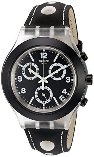 Swatch SVCK4072 - Reloj cronógrafo de Cuarzo Unisex con Correa de Piel, Color Negro