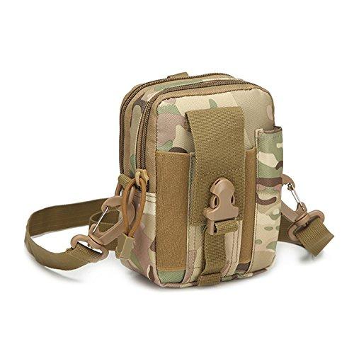 haoYK Tactical MOLLE Pouch Compact 1000D met verstelbare schouderriem wandelen taille Pakket, Tactische tas Multi-Purpose Utility Gadget Tool riem voor Outdoor Wandelen Camping Fietsen Vissen Dagelijks Gebruik