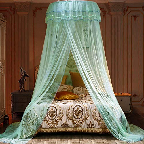 Jolitac Bed Canopy Lace Mosquito Net for Girls Beds, Unique Princess Play Tent Mesh Canopies Large Lace Dome Curtain Drapes Home & Travel (Green)