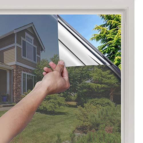 rabbitgoo Film Miroir Fenetre Adhesif Effet Miroir Anti Regard sans Tain pour Vitre Papier Miroir Anti Chaleur Feuille Miroir Occultant à Sens Unique Protection de Soleil Anti UV Argent 44.5x200CM