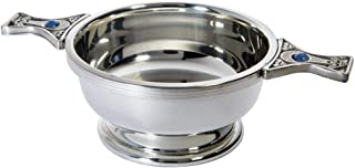 Wentworth Pewter - Standard Pewter Gem Handle Quaich Whisky Tasting Bowl Loving Cup Burns Night