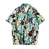 R-Cors Hommes Hawaii Fleurs Imprimé Tee Shirt Manches Courtes Été Vacances Hawaï T-Shirts pour Homme,Fleuri Imprimé La Mode éTé Chemisier Tops Blouse(A Noir,M)
