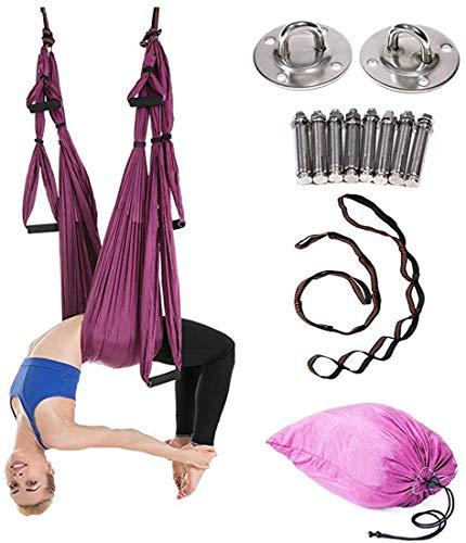 Mfnyp Aerial yoga schommel - Ultra Strong anti-tigravity yoga hammock - lucht trapeze kit - sling voor anti-zwaartekracht yoga inversie-oefeningen - montagetoebehoren inbegrepen