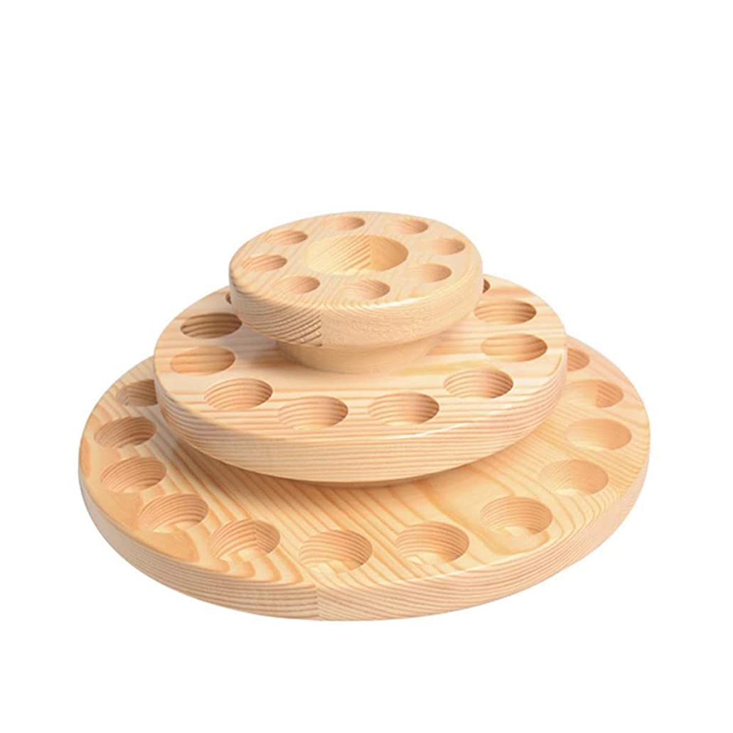 確かに構成知り合いになるTINKSKY アロマオイルスタンド エッセンシャルオイル収納 精油 ディスプレイスタンド 木製 回転台 精油収納 見つけ易い 39本用