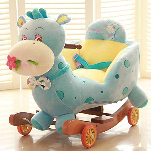 QIANG Baby Rocking Horse For 1-3 Year Old, Rocking Toy For Toddler, Kid Rocker, White Wooden Rocking Chair, Child Rocking Animal, Outdoor Animal Rocker, Girl/Boy Ride On Toy,D