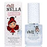 Miss Nella CONFETTI CLOUDS- trasparente Smalto speciale con brillantini per bambini, con formula peel-off, a base d'acqua e senza odori