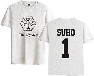 Summer Kpop EXO T-Shirt Women Men Member Name Letter Print T-Shirt Crewneck Short Sleeve Fans Supportive T-Shirt(Suho 1 Gray,M)