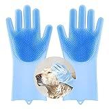 Pawaboo Guantes de Silicona de Aseo Antideslizante, Guantes de Limpieza Multifuncional y Resistente a Calor con Cabezas de Cepillo Densas para Perros Gatos Frutas Platos y Coches - Azul
