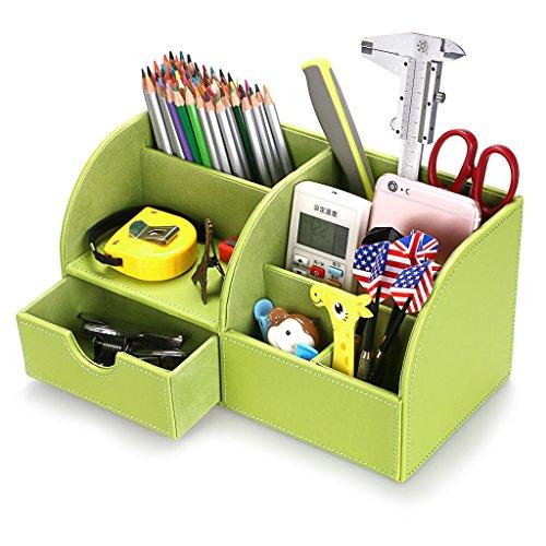 BTSKY Organizador de Escritorio de Piel Sintética Multifuncional Caja de Escribanía Mesa con 7 Compartimientos para Oficina Hogar , Color Verde