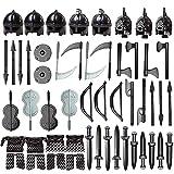 HYMAN Juego de 51 piezas de casco personalizado, armadura, armas para caballeros soldados Swat Team Policía, compatible con minifiguras Lego