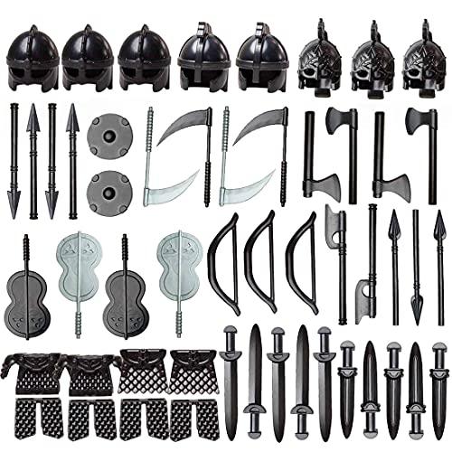 BGOOD Juego de armas militares, 51 unidades, estilo medieval, equipo de policía SWAT, minifiguras, armas y casco, compatible con Lego