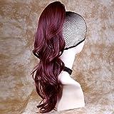 Neuf Bordeaux Rouge/Prune ondulée longue queue de cheval Cheveux extension britannique